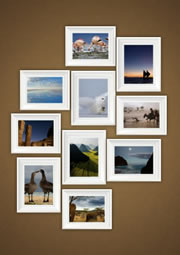 wall photo collage with white photo frame