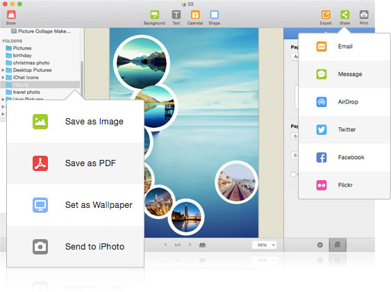 Export your photo collage in multiple ways