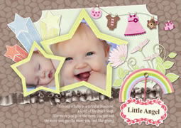 cute baby girl greeting card template
