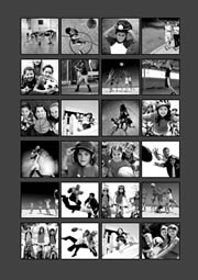 photo collage template of black and white grid layout