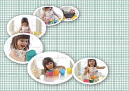 photo collage template with white picture frames