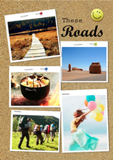 photos pinned on paper board template