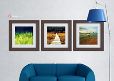 creative poster template with frames, sofa and lamp