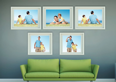 photo frames and green sofa on poster template