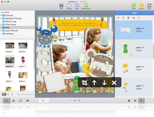 Customize digital scrapbook at will