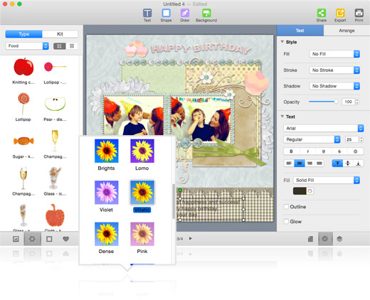 Decorate digital scrapbook