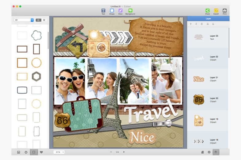 adjust the layers of scrapbook