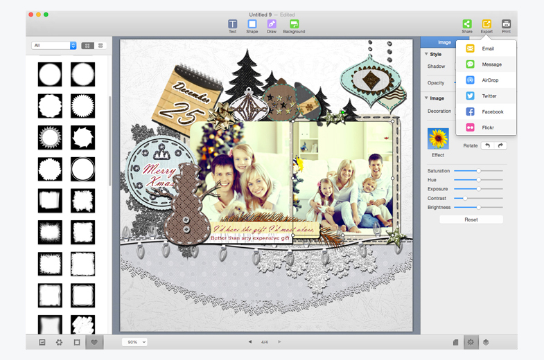 Export, print and share scrapbook album