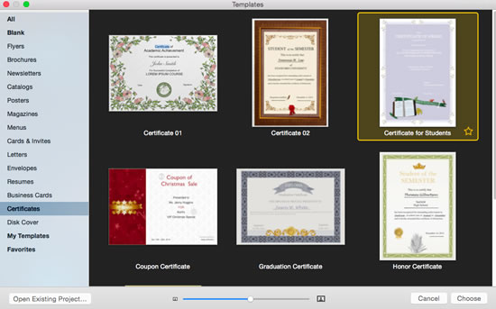 publisher certificates templates