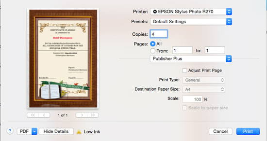 print certificate out