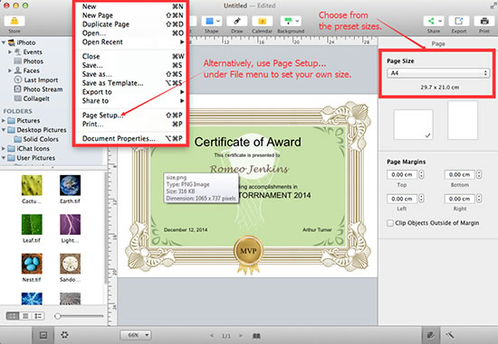 Customize your certificate size