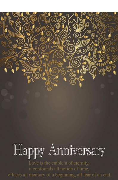 blue love template of anniversary card happy anniversary card with golden pattern