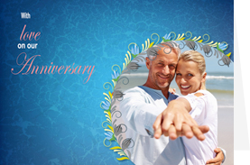 blue love template of anniversary card