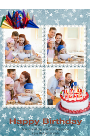 happy birthday card with cake and candles