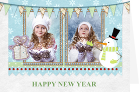 attractive new year card with snowman