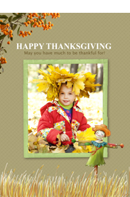 golden fall style thansgiving card