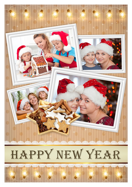 new year card with abundant gifts happy family greeting card sample