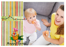 beautiful girl's easter card template