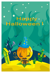 cartoon greeting card template for Halloween