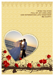 greeting card marked with wedding photos