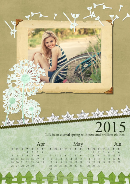 Calendar Samples & Templates | Collage Photo Calendars - Picture ...