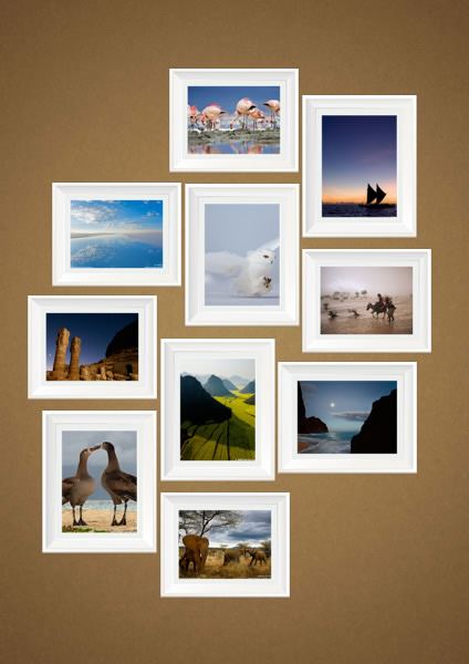 wall photo collage with white photo frame - Free Collage Templates