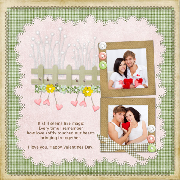 Love Photo Scrapbook Valentine Template Simple Printable