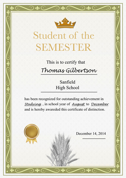 Certificates templates sample design excellent certificates with printable certificate template graduation award certificate student of semester certificate template yelopaper Gallery