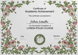 certificate template of academic