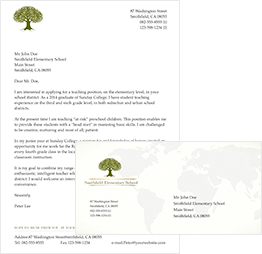printable letter envelope with a tree at the top of the paper
