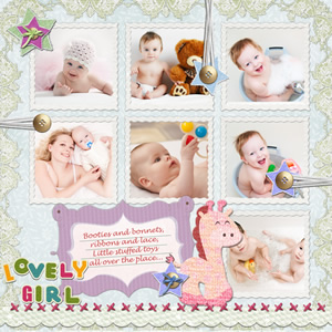 grid style of baby scrapbook template