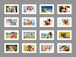 Make a grid collage with white photo frames