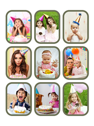 grid collage template for a happy kids' party
