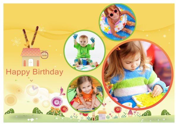 Birthday Card Templates Addon Pack Free Download Greeting Card – Picture Collage Birthday Card