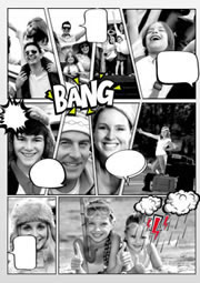 black and white comic photo collage