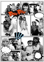 skiing comic photo collage