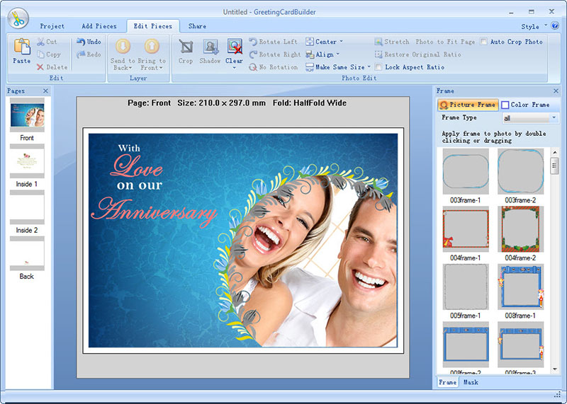 Greeting Card Builder was specifically designed to create photo greeting card.