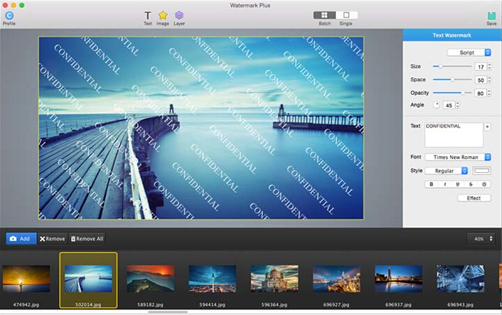 Watermark Plus is an easy and intuitive bulk photo converter that lets you add text/image watermarks, resize and rename a bunch of photos at a time. It